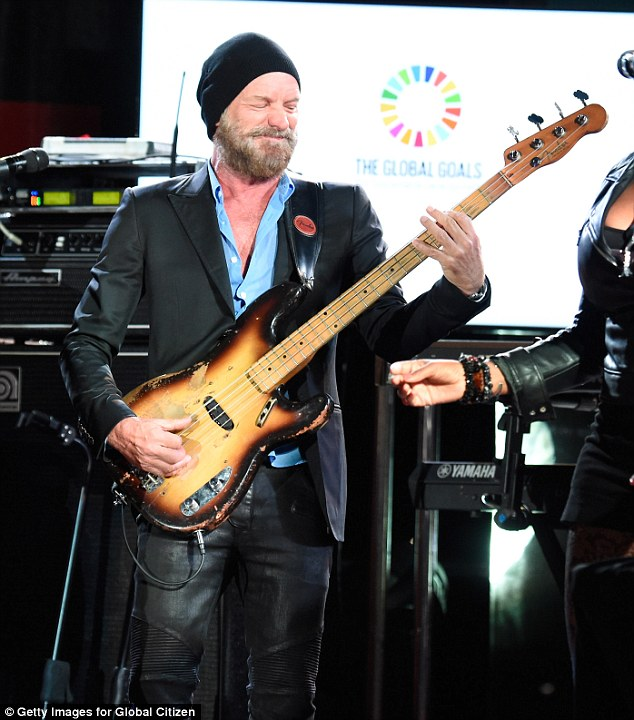 Getting into it: Sting appeared more than happy to be strumming his guitar