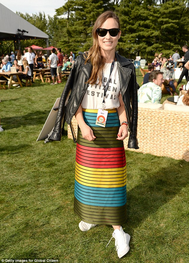 Showing her support! Olivia Wilde donned a Global Citizen Festival T-shirt as she arrived on Saturday, which she coupled with  an eye-catching, multicolored skirt