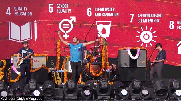 Mindful: During his performance Chris could be seen dancing in front of a bright red backdrop which called for changes such as quality education, gender equality, and affordable and clean energy