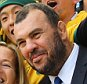 BIRMINGHAM, ENGLAND - SEPTEMBER 27:  Michael Cheika, Head Coach of Australia poses for selfie photographs with fans after the 2015 Rugby World Cup Pool A match between Australia and Uruguay at Villa Park on September 27, 2015 in Birmingham, United Kingdom.  (Photo by Richard Heathcote - World Rugby/World Rugby via Getty Images)