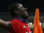 CSKA Moscow's Seydou Doumbia celebrates his goal against PSV Eindhoven during their Champions League group B soccer match at the Arena Khimki stadium outside Moscow, Russia, September 30, 2015. REUTERS/Maxim Shemetov