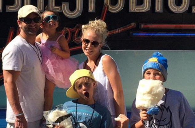 Family fun day: Britney Spears visited a theme park in Los Angeles with her sons and her brother on Sunday