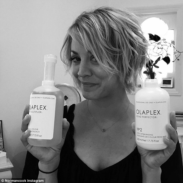 Pampering herself: The former 8 Simple Rules actress showed off her hair products on Sunday