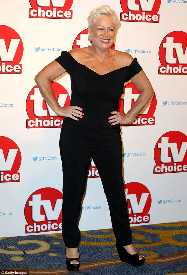 Beaming: Denise Welch was full of smiles as she posed for pictures at the start of the awards show