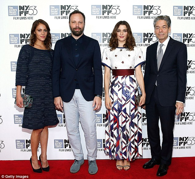 Photocall: Rachel pose alongside co-star Ariane Labed, filmmaker and director Yorgos Lanthimos and CEO of Alchemy Bill Lee
