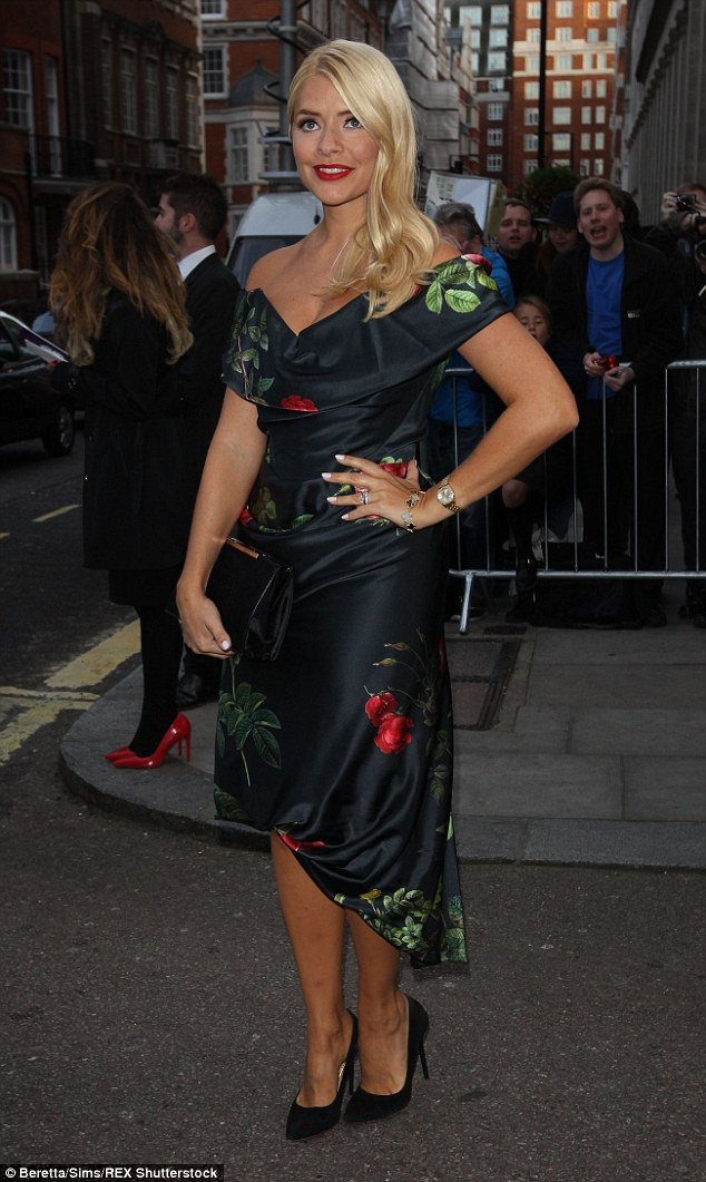 Blooming lovely! Holly Willoughby wowed in floral  dress at The Pride Of Britain Awards in London on Monday