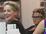 Sharon Stone has fun with a friend at a nail salon in Beverly Hills, CA.  Pictured: Sharon Stone  Ref: SPL1139329  280915   Picture by: Splashnews  Splash News and Pictures Los Angeles: 310-821-2666 New York: 212-619-2666 London: 870-934-2666 photodesk@splashnews.com
