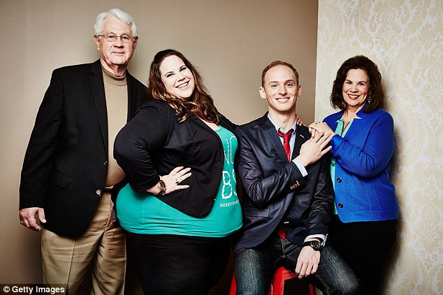 Season 2 of Fat Girl Dancing airs this month in the UK. Ms Thore is pictured (from left to right ) with father Glenn Thore, counselor Tal Fish and mother Barbara Thore