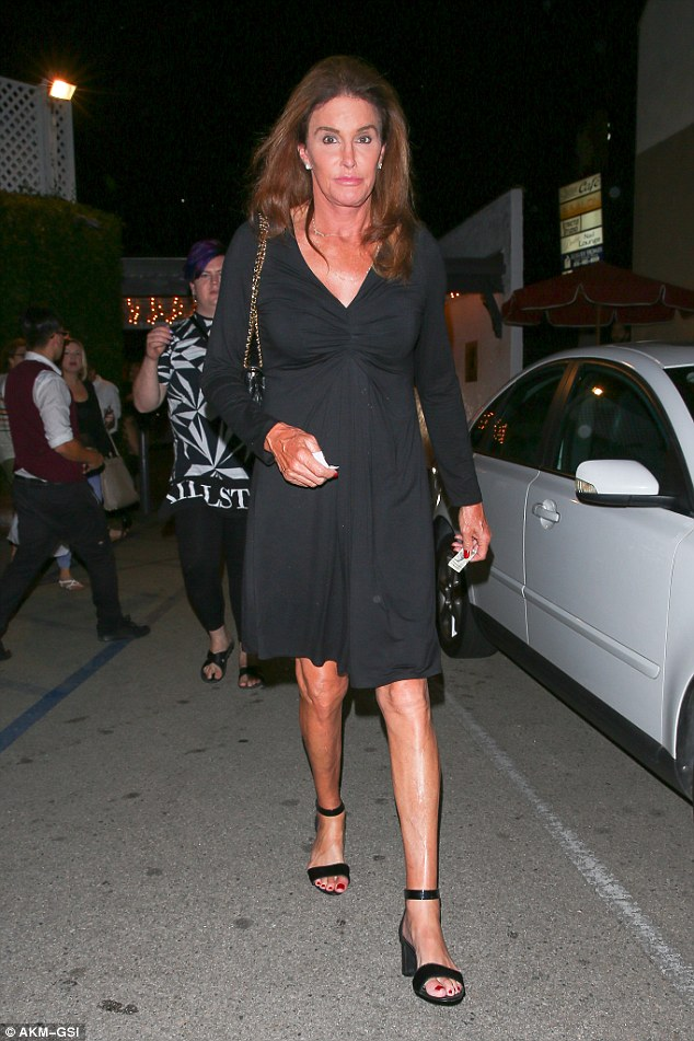 Night out: Caitlyn Jenner wore a black mini dress for dinner at Casa Vega with girl pal Candis Cayne earlier in the week
