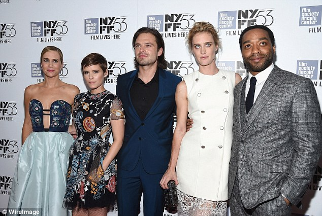 Cast shot minus some: (L-R) Kristen and Kate posed with Sebastian Stan, Mackenzie Davis and Chiwetel Ejiofor