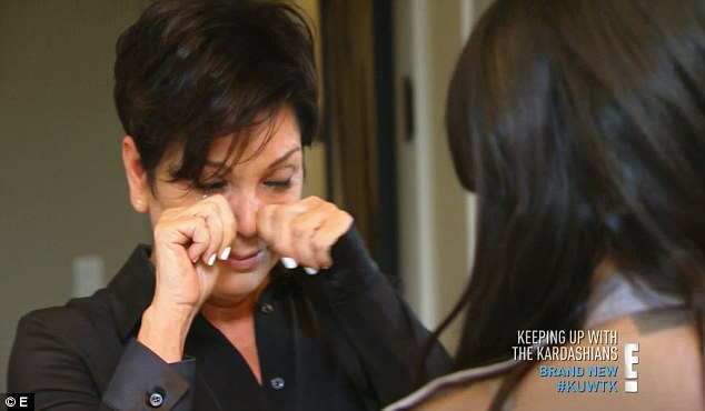 Tough times: Kris Jenner is seen crying alongside Kim Kardashians as she reveals she's missing Bruce in scenes for Sunday's Keeping Up With The Kardashians