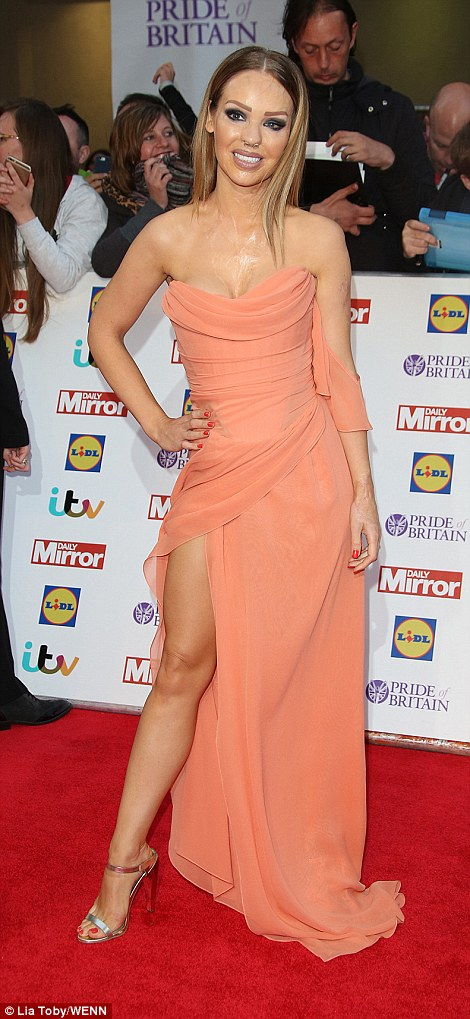 Taking the plunge: Melanie Sykes (L) and Katie Piper (R) all turned heads in floor-sweeping numbers