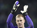 Manchester City's goalkeeper Joe Hart celebrates after the Champions League group D soccer match between Borussia Moenchengladbach and Manchester City in Moenchengladbach, Germany, Wednesday, Sept. 30, 2015. (AP Photo/Martin Meissner)