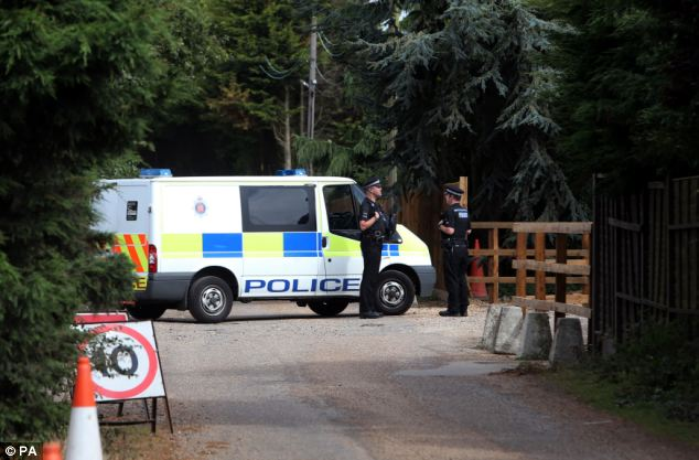 Searching: Police were seen patrolling areas around Earls Hall Farm in St Osyth (pictured), near Clacton, Essex