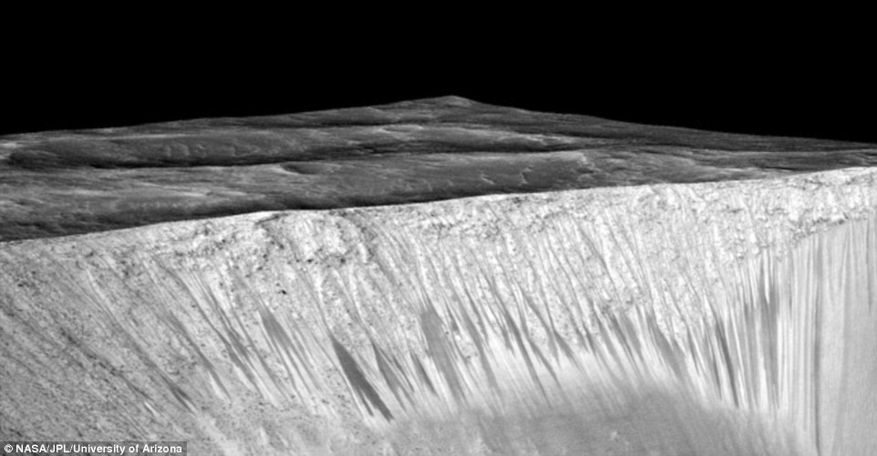 In particular, finding definitive evidence of liquid water on Mars is the best indication researchers have that life may once have existed, or may yet come into existence, on an alien world. The experts used a computer program to filter out shadows and blemishes to observe the dark 'fingers' on the planet's surface (pictured)