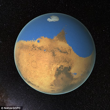 An artists impression of the ancient Ocean on Mars. NASA scientists have determined that a primitive ocean on Mars held more water than Earth's Arctic Ocean and that the Red Planet has lost 87% of that water to space.