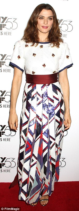 White hot:Rachel Weisz, left, andMackenzie Davis, right, arrived in unique white and patterned pieces