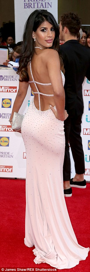 What a stunner: Desi Rascals reality star Jasmin Walia looked incredible in a simple pastel pink gown with crystal detailing