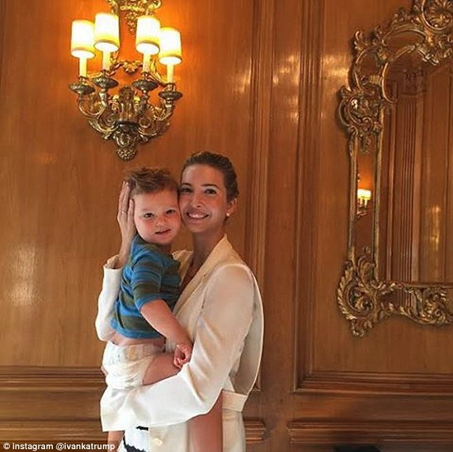 Sleepy boy: Ivanka shared this image of her and Joseph in the morning after he woke up to wish her 624,000 Instagram followers 'Good morning' last week