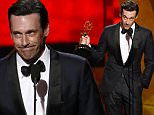 IMAGE DISTRIBUTED FOR THE TELEVISION ACADEMY - Jon Hamm accepts the award for outstanding lead actor in a drama series for ìMad Menî at the 67th Primetime Emmy Awards on Sunday, Sept. 20, 2015, at the Microsoft Theater in Los Angeles. (Photo by Phil McCarten/Invision for the Television Academy/AP Images)
