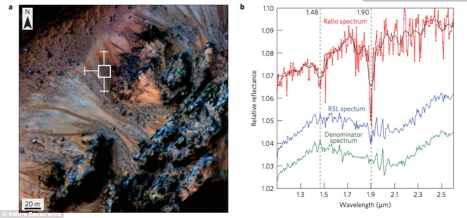 In particular, the researchers looked for 'absorption bands' created by both liquid water and hydrated salts. The latter is significant because if salts of these kind are found it suggests they have been hydrated by a liquid source. The left-hand image shows the Hale crater and the right-hand image shows evidence of hydrated salts