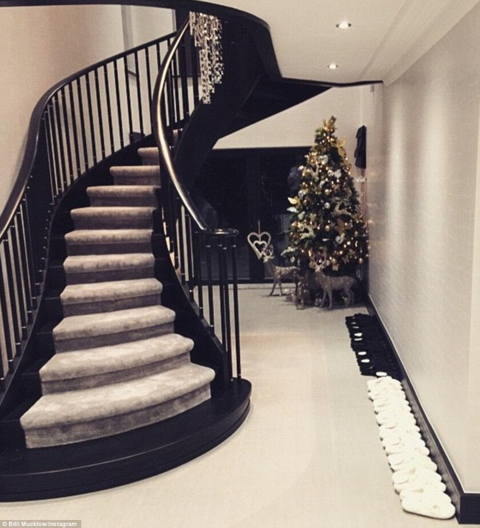 The couple previously showed off their minimalist approach to Christmas in this image featuring a staircase and multiple pairs of slippers