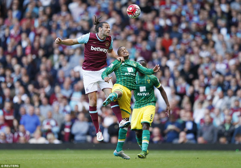 West Ham striker Carroll (left) came on as a substitute for his team in their 2-2 draw with Norwich on Saturday