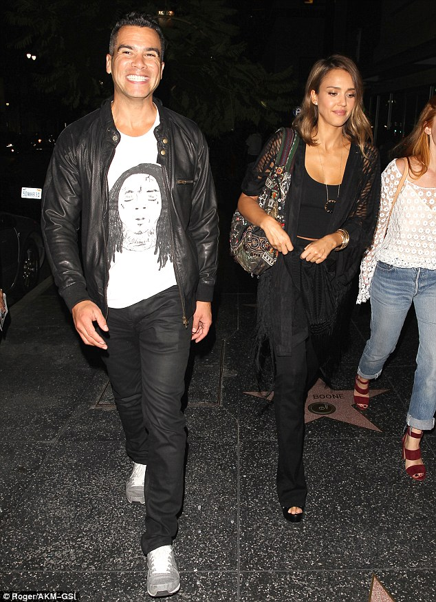 Say cheese: Jessica Alba and Cash Warren were all smiles as they enjoyed a romantic date night out at the celebrity hot spot and sushi bar Katsuya in Hollywood on Saturday night