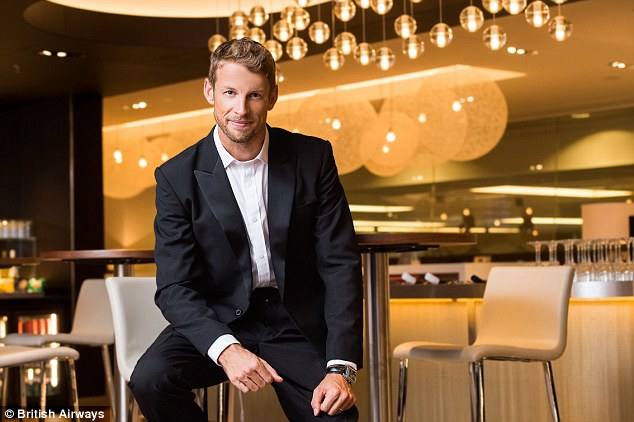 Travelling in style: Jensonwas one of the first customers to enjoy British Airways' new state-of-the-art lounge facility as he travelled through Changi Airport in Singapore this week