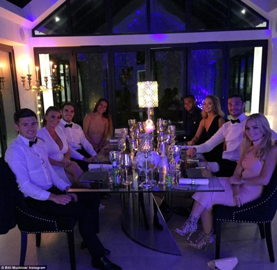 Mucklow also shared a photograph of the eight-person group posing for a snap at the dinner table, where Cresswell, Mucklow, O'Brien and Yana Reid (left, front to back) sit opposite Unsworth, Carroll, Martin and Winston Reid (right, front to back)