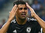 Diego Costa of Chelsea reacts after no penalty is given against Yacine Brahimi of FC Porto during the UEFA Champions League Group G match between FC Porto and Chelsea played at Estadio Do Dragao, Porto