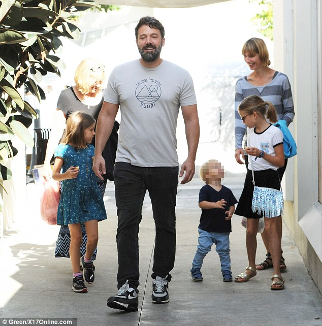 Father time: Ben Affleck was spotted with the children at a Farmer's Market on Sunday