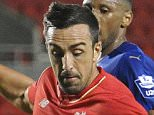 ST HELENS, ENGLAND -SEPTEMBER 28:  (THE SUN OUT, THE SUN ON SUNDAY OUT) Jose Enrique of Liverpool and Matt Miles and Alie Sesay of Leicester City in action during the Liverpool v Leicester City U21 Premier League game at Langtree Park on September 28, 2015 in St Helens, England.  (Photo by Nick Taylor/Liverpool FC via Getty Images)