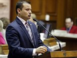 FILE - In this Feb. 9, 2015, file photo, Rep. Jud McMillin, R-Brookville, presents a bill at the Statehouse in Indianapolis. House Republicans announced Tuesday, Sept. 29, that McMillin was resigning from the Legislature. (AP Photo/Michael Conroy, File)
