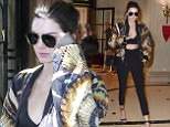 01.OCTOBER.2015 - PARIS - FRANCE KENDALL JENNER LEAVING THE FOUR SEASONS AS SHE MAKES HER WAY TO THE BALMAIN'S FASHION SHOW HELD AT THE GRAND HOTEL IN PARIS. *** AVAILABLE FOR UK SALE ONLY *** BYLINE MUST READ : E-PRESS / XPOSUREPHOTOS.COM ***UK CLIENTS - PICTURES CONTAINING CHILDREN PLEASE PIXELATE FACE PRIOR TO PUBLICATION *** **UK CLIENTS MUST CALL PRIOR TO TV OR ONLINE USAGE PLEASE TELEPHONE 0208 344 2007**