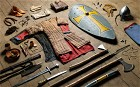 """'The Anglo-Saxon warrior at Hastings is perhaps not so very different from the British """"Tommy"""" in the trenches,' photographer Thom Atkinson says. At the Battle of Hastings, soldiers' choice of weaponary was extensive."""