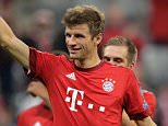 MUNICH, GERMANY - SEPTEMBER 29: Thomas Mueller of Bayern Muenchen celebrates after the UEFA Champions League Group F match between FC Bayern Munchen and GNK Dinamo Zagreb at the Allianz Arena on September 29, 2015 in Munich, Germany.  (Photo by Adam Pretty/Bongarts/Getty Images)