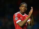 epa04958130 Manchester United's Anthony Martial reacts during the UEFA Champions League group B soccer match between Manchester United and VfL Wolfsburg at Old Trafford in Manchester, Britain, 30 September 2015. ManU won 2-1.  EPA/PETER POWELL