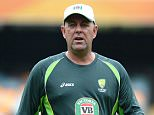 Coach Darren Lehmann gives out instructions to the players during an Australian training session at The Gabba in Brisbane, Australia.    BRISBANE, AUSTRALIA - FEBRUARY 19:   (Photo by Bradley Kanaris/Getty Images)