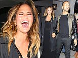 **NO Australia, New Zealand** West Hollywood, CA - Chrissy Teigen and her  husband John Legend hold hands after a dinner date at Craig's Restaurant. The SI Swimsuit model was in a playful mood as she made her way through a crowd of photographers outside the popular celebrity restaurant. AKM-GSI         September 29, 2015 **NO Australia, New Zealand** To License These Photos, Please Contact : Steve Ginsburg (310) 505-8447 (323) 423-9397 steve@akmgsi.com sales@akmgsi.com or Maria Buda (917) 242-1505 mbuda@akmgsi.com ginsburgspalyinc@gmail.com