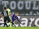 Lars Stindl of Borussia Monchengladbach scores a goal to make the score 1-0 during the UEFA Champions League Group D match between Borussia Monchengladbach and Manchester City played at Borussia Park, Monchengladbach