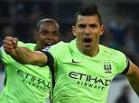 MOENCHENGLADBACH, GERMANY - SEPTEMBER 30:  Sergio Aguero of Manchester City celebrates scoring their second goal from the penalty spot during the UEFA Champions League Group D match between VfL Borussia Monchengladbach and Manchester City at the Borussia Park Stadium on September 30, 2015 in Moenchengladbach, Germany.  (Photo by Lars Baron/Bongarts/Getty Images)