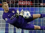Football - Borussia Monchengladbach v Manchester City - UEFA Champions League Group Stage - Group D - Stadion im Borussia-Park, Monchengladbach, Germany - 30/9/15  Manchester City's Joe Hart saves a penalty from Borussia Monchengladbach's Raffael  Action Images via Reuters / Carl Recine  Livepic  EDITORIAL USE ONLY.