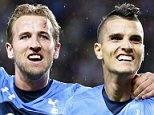 epa04959186 Tottenham's Erik Lamela (R) celebrates with his teammate Harry Kane (L) after scoring the 1-0 lead during the UEFA Europa League group J soccer match between AS Monaco and Tottenham Hotspur FC at Stade Louis II in Monaco, 01 October 2015.  EPA/SEBASTIEN NOGIER