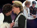 30 September 2015 - Los Angeles - USA  **** STRICTLY NOT AVAILABLE FOR USA ***  Matt Damon and James Corden recreate all the actor's movies on The Late Late Show. The pair almost locked lips in the hilarious sketch which saw the pair do a rapid-fire tribute to DAmon's movies. As they spoofed Behind The Candelabra, in which Damon played Liberace's lover, they lent in for a kiss - which was cut short as the bell dinged for the next movie. With several clothes changes and Corden pretending to be George Clooney at one point, the pair spoofed such movies as Ocean's Eleven, Twelve and Thirteen, all the Bourne movies, Good Will Hunting, Talented Mr Ripley, Saving Private Ryan, We Bought A Zoo, Invictus, The Departed and Damon's latest moie The Martian.   XPOSURE PHOTOS DOES NOT CLAIM ANY COPYRIGHT OR LICENSE IN THE ATTACHED MATERIAL. ANY DOWNLOADING FEES CHARGED BY XPOSURE ARE FOR XPOSURE'S SERVICES ONLY, AND DO NOT, NOR ARE THEY INTENDED TO, CONVEY TO THE USER ANY COPYRIGHT OR LICENSE IN TH