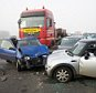 Vehicules wreckages are pictured on the  A19 highway near Zonnebeke-Beselare after a multiple collision accident caused by dense fog on December 3, 2013. At least one person died in the accident involving 40 to 50 vehicles. The A19 is blocked in both directions. AFP PHOTO / BELGA / KURT DESPLENTER ***Belgium Out***        (Photo credit should read KURT DESPLENTER/AFP/Getty Images)