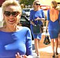 UK CLIENTS MUST CREDIT: AKM-GSI ONLY EXCLUSIVE: Beverly Hills, CA - Actress Sharon Stone shows plenty of skin as she is spotted headed to a Beverly Hills restaurant in a sexy royal blue dress.  Sharon showed off her enviable figure in a backless fitted dress and shows us that at 57, you can still flaunt it if you've got it!  Pictured: Sharon Stone Ref: SPL1139888  290915   EXCLUSIVE Picture by: AKM-GSI / Splash News