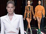 Mandatory Credit: Photo by David Fisher/WWD/REX Shutterstock (5206487ab)  Jourdan Dunn on the catwalk  Balmain show, Spring Summer 2016, Paris Fashion Week, France - 01 Oct 2015