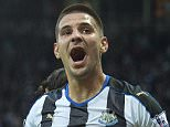 """Newcastle United's Aleksandar Mitrovic celebrates after team-mate Ayoze Perez scores their side's first goal during the Barclays Premier League match at St James' Park, Newcastle. PRESS ASSOCIATION Photo. Picture date: Saturday September 26, 2015. See PA story SOCCER Newcastle. Photo credit should read: Owen Humphreys/PA Wire. RESTRICTIONS: EDITORIAL USE ONLY No use with unauthorised audio, video, data, fixture lists, club/league logos or """"live"""" services. Online in-match use limited to 45 images, no video emulation. No use in betting, games or single club/league/player publications."""