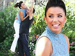 143160, Eva Longoria and Ricardo Antonio Chimera film a scene where she gets her keys stolen for the NBC comedy 'Hot and Bothered' in Los Angeles. Los Angeles, California - Thursday October 1, 2015. Photograph: Jeff Steinberg, © PacificCoastNews. Los Angeles Office: +1 310.822.0419 sales@pacificcoastnews.com FEE MUST BE AGREED PRIOR TO USAGE